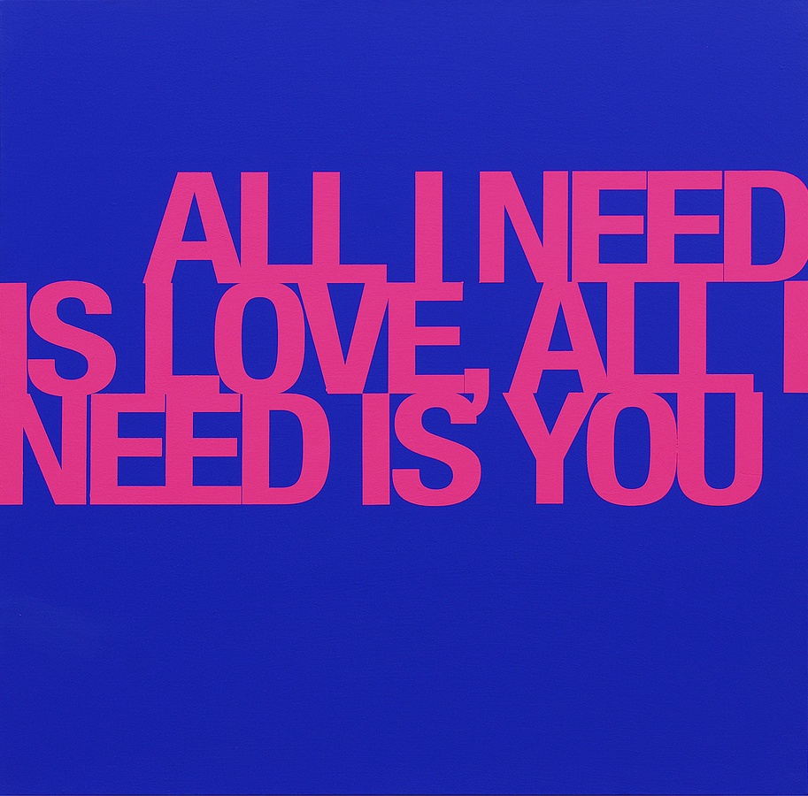 All i need is you, all i need is love, 2009 Acrylic on canvas 100 x 100 cm