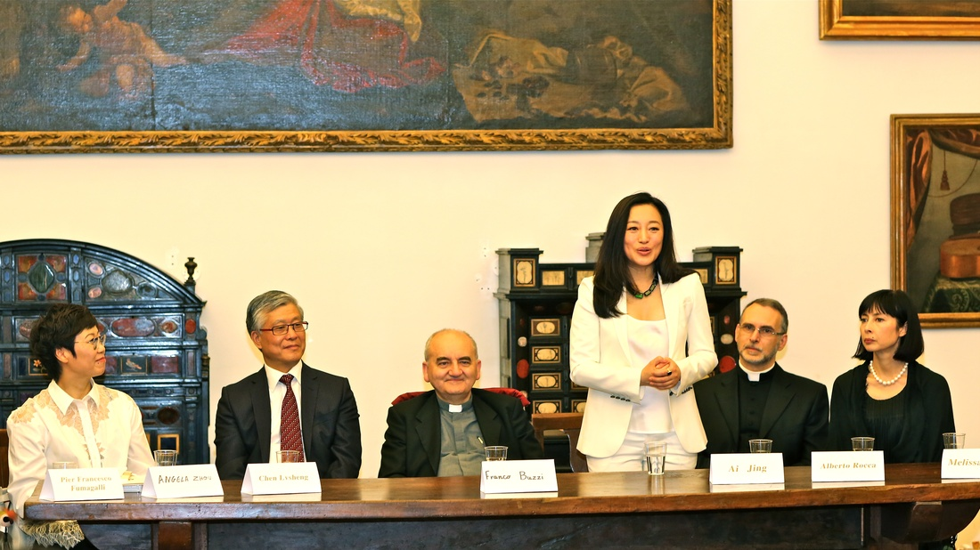 Artist Ai Jing, exhibition DIALOGUES press conference at Veneranda Biblioteca Ambrosiana Museum